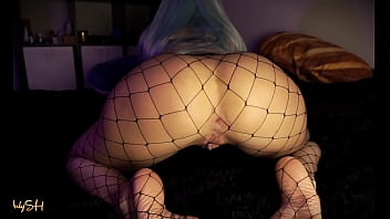 Perfect ass blue hair girl in fishnets riding on dildo cock