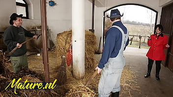 Hairy Horse Tamer Double Penetrated In Horse Stable For Her First Time 11 min