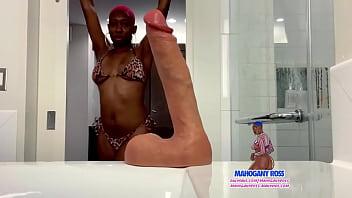 Mahogany Ross thick juicy ebony ass fucks herself with 9.2 inch dildo