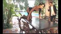 Gorgeous European brunette babe in sexual black lingerie Diana Doll is get banged by physically fit British gentleman on the wooden table on the sun-parlour