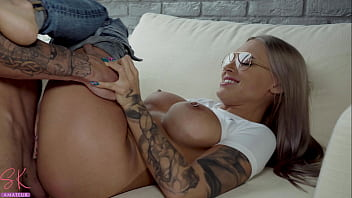 Perfect Girl in Glasses Deep Sucking and Passionate Fucking until Cum in Mouth 6 min