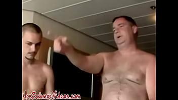 Young amateur thug Blaze barebacks two mature men and cums