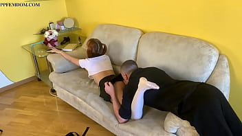 Stepbrother Licks Uniformed Step-Sister's Ass And Pussy - Anilingus Femdom Roleplay
