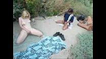 My pervert girlfriend masturbates for voyeurs at nude beach