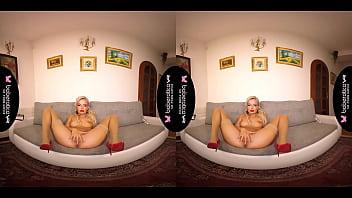 Solo blonde lady, Victoria Pure is masturbating, in VR