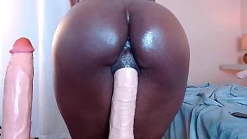 Thicc Ebony Pussy Grips onto Huge Dildo 12 min