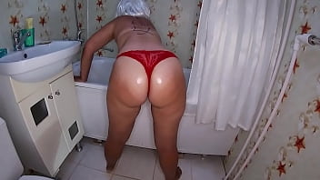 Son caught mom in bathroom and fucked her big ass