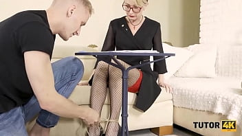 TUTOR4K. Student roughly drills submissive blond teacher on the couch