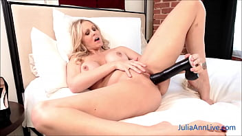 Gorgeous Big Boobed Julia Ann Drills Herself With A Huge Fake Cock!