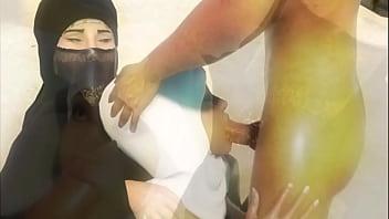 island of lost fat muslim girls in hijab and burqua long prew