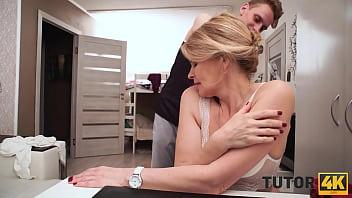 TUTOR4K. Instead of literature blond tutor enjoys hot sex with student
