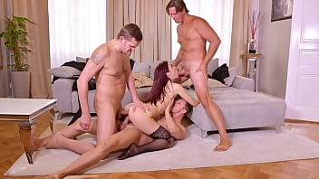 Enchanting Redhead in Stockings Torn Up by 3 Cocks