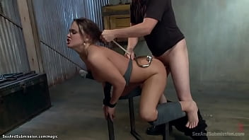 Tight tied brunette rough fucked