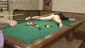 Nasty girls shooting pool