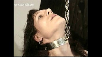 Slave with great body and nice tits plays with her pierced pussy