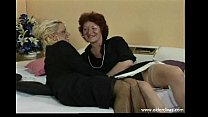 Old lesbians in business suits stockings and heels get it on