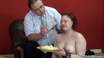 Disgusting food humiliation and cruel domestic discipline of sexy fetish slave