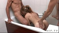 naughty french teen hard anal fucked in threesome