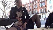 Sexy blonde Amber West in naughty voyeur adventures and outdoor public nudity