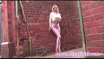 skin tight pink leggings, designer pink high heels, out in Birmingham 5 min