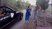 Jenny Glam fucked on a public road and sucks a big fat cock
