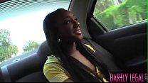 Ebony teen Monicka Jaymes spread eagle before facial