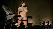 Curvy latina teen workout and striptease in the gym