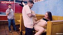 Colombian Teen beauty Izzy Lush fucks random guy in a diner