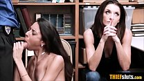Petite teen thief punsh fucked next to her mother
