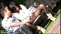 Japanese teen in pantyhose fucked outdoor by older man