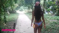 HD thai teen outdoor sucking monster cock in the jungle