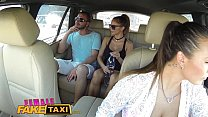 Female Fake Taxi Brunette cabbie fucked doggy style in car trunk