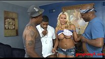 Busty woman asshole fucked by black men