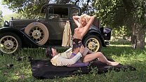 Big tits blonde MILF helps the lost guy in the public in old wild west