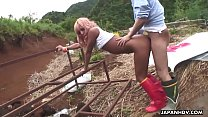Tanned Japanese Fucked in Boots Outdoors