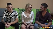 Sweet blonde Ylenia gets COMPLETELY WRECKED by two dudes