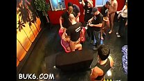Babe gets her face overspread with ejaculation during gangbang