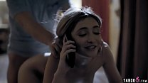 Babysitter teen fuck while on the phone with boyfriend