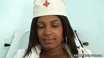 Black nurse Manuela speculum and dildo masturbation