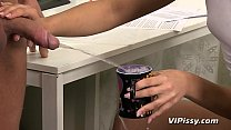 Piss Play For Horny Couple In The Office