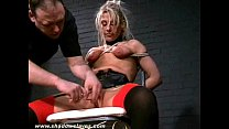 Cruel sexual punishment and spanking of blonde Crystel Lei in hardcore bdsm