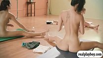 Big tits trainer and two brunettes yoga session while naked