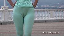 Cameltoe while jogging.