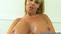 English milf Gabby Fox works her hungry cunt