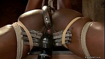 Ebony slave twat hooked and fingered