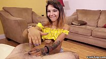 Brunette chick POV handjob