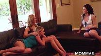 Teen tribbed by stepmom in lesbian threeway
