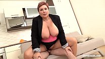 Redhead German granny abuses nephew with her big tits