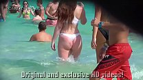 Must see teen PAWG in a thong bikini on the beach in public!