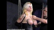 Busty blonde Cherrys breast bondage and amateur bdsm of tit tortured submissive